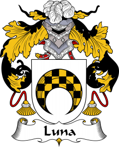 Luna Coat of Arms, Luna Family Crest, Luna escudo de armas, Luna cresta de la familia