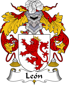 Leon Coat of Arms, Leon Family Crest, Leon escudo de armas, Leon cresta de la familia, Leon apellido, Leon Family reunion, spanish genealogy
